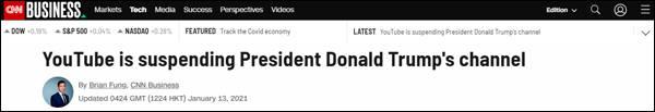 YouTube封禁特朗普频道至少一周,很可能还会延长
