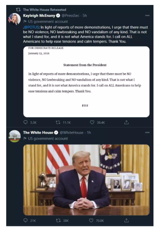 Twitter称特朗普通过白宫官方Twitter账户发布的新视频不违规