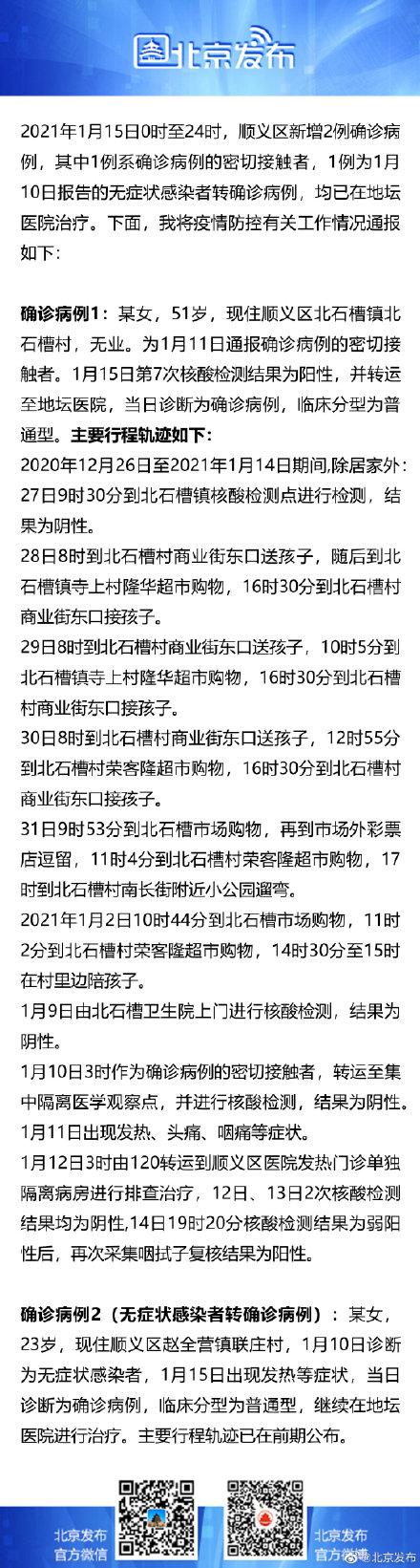 北京昨日确诊病例行程轨迹发布 曾多次到超市购物