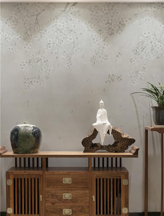 新品墙画《繁花时遥》惊艳亮相 提花+刺绣双重工艺为下一场浪漫的樱花雨