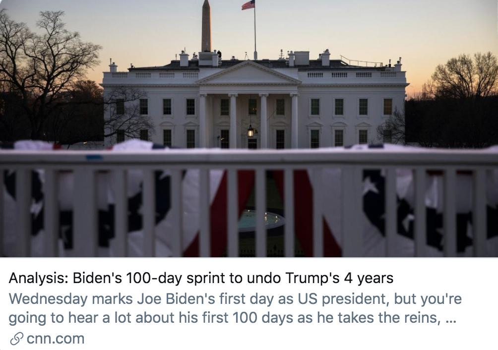 拜登上任首日做了什么?