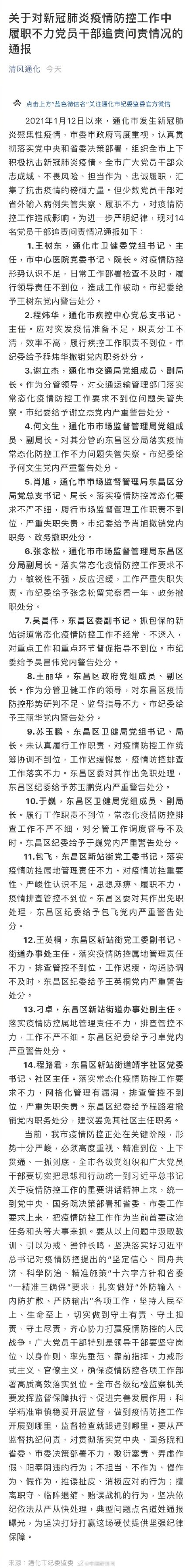 吉林通化卫健委主任等14名干部被处分