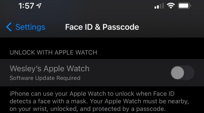 iOS 14.5将新增戴口罩时用Apple Watch解锁iPhone的选项