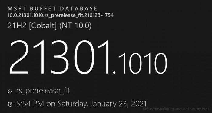 微软推出Windows 10 Build 21301.1010 (KB5000626)