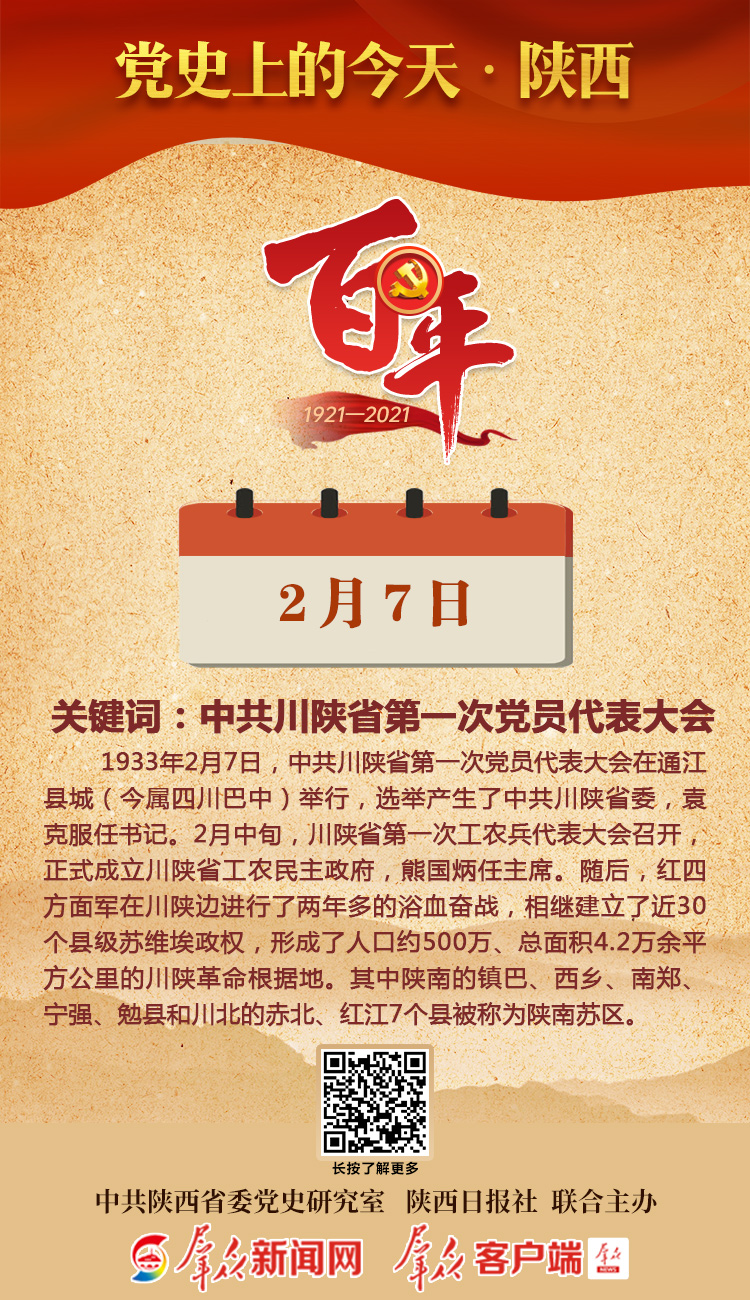 党史上的今天·陕西(2月7日)