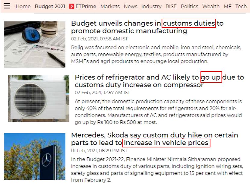 印度希望调整进口关税,涉及多个家电产业链产品