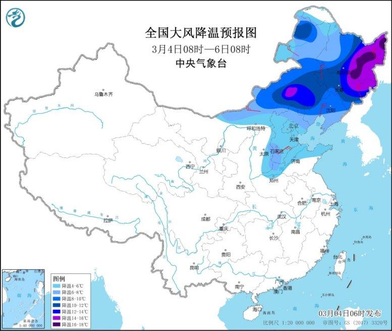 南方地区将有降水过程 中东部地区将有大风降温天气