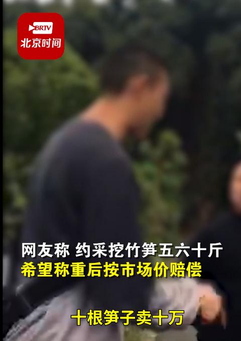 游客挖竹笋遭村民索赔1根1万  经协调最终赔偿1500元