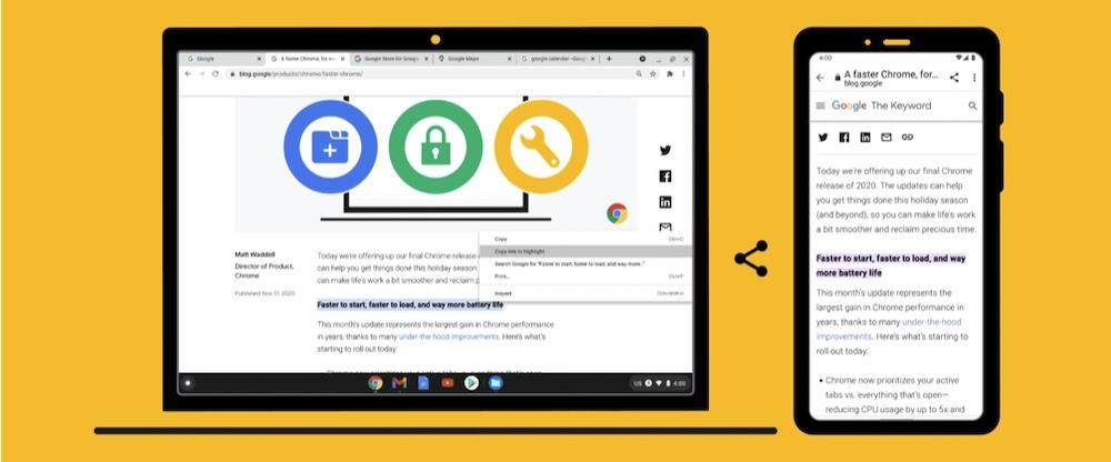 Google 为 Chrome 带来新功能,支持分享带高亮文本的网页链接