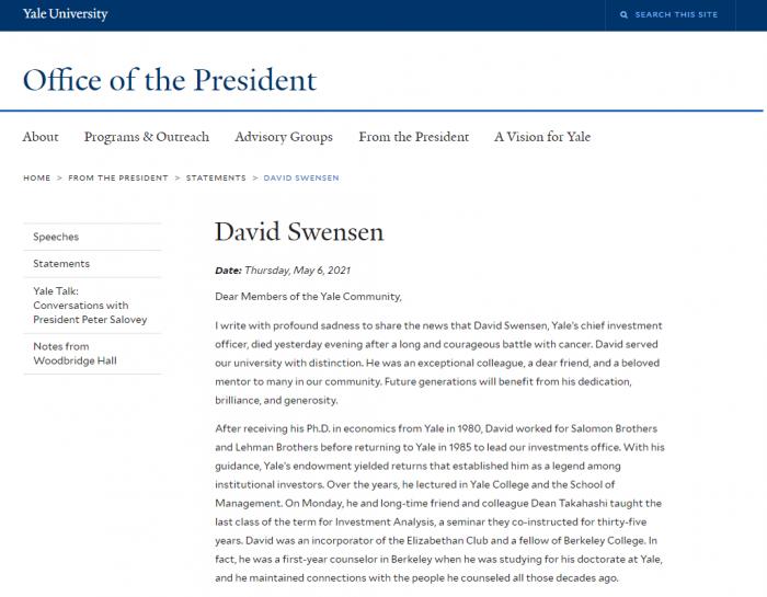 耶鲁大学首席投资官大卫·斯文森因病去世 享年67岁