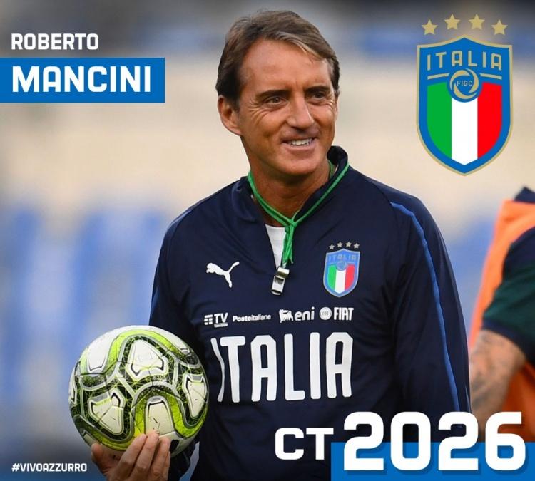 官方:意大利足协与曼奇尼续约至2026年6月