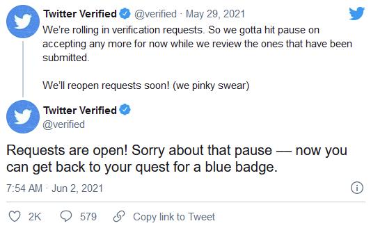 Twitter重新开始接受蓝色验证徽章的验证请求