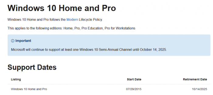 微软称将在2025年停止对Windows 10的支持-第1张图片-IT新视野