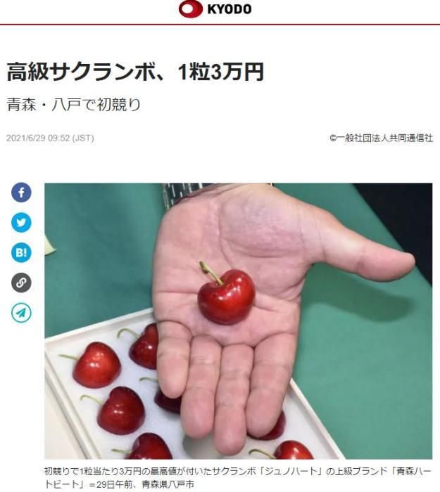 一颗樱桃3万日元!日本青森樱桃拍出高价