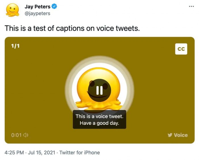 Twitter宣布为语音推文启用字幕功能