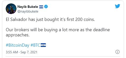 比特币即将成为萨尔瓦多法定货币,总统称已购买200枚比特币