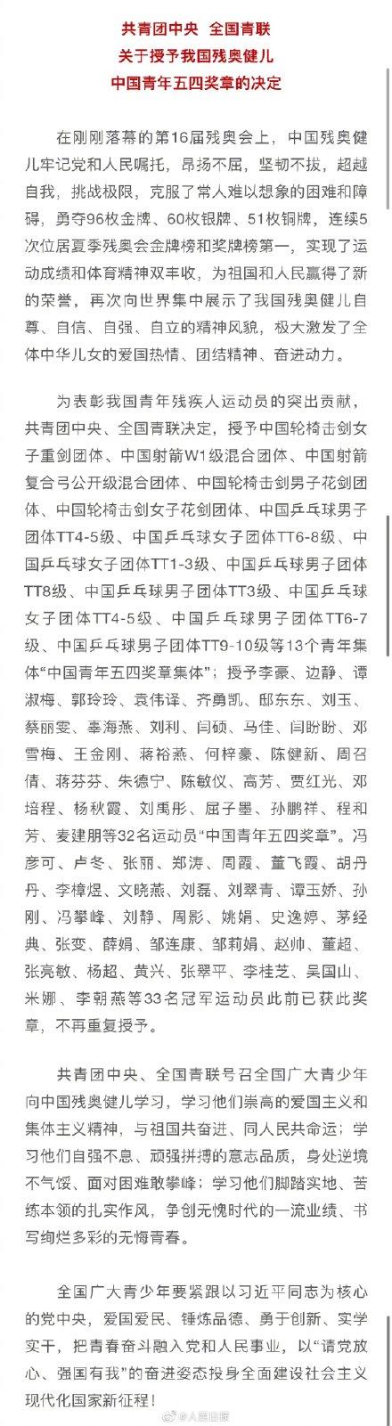 """2名残奥健儿获中国青年五四奖章"""""""