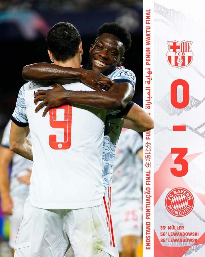 拜仁3-0巴萨 莱万梅开二度