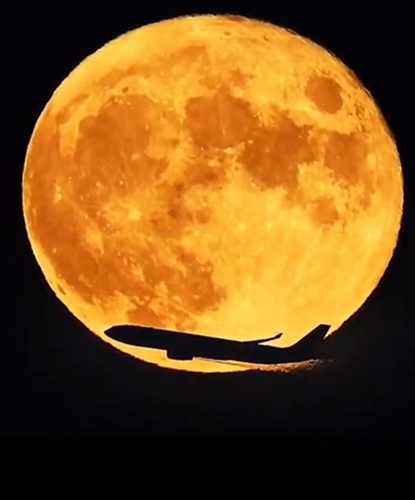中秋月亮与飞机同框照片