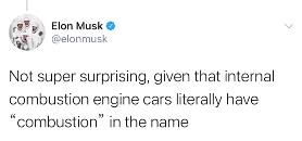 马斯克:燃油车易燃因为名字带燃