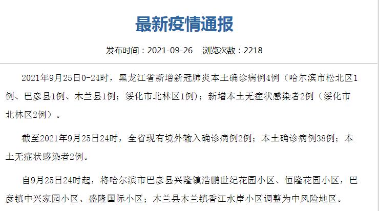 黑龙江疫情呈多点散发态势 9月26日哈尔滨疫情最新消息今天:黑龙江新增本土确诊4例在哈尔滨绥化