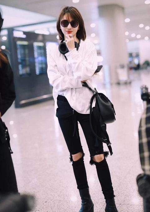 王子文越恋爱越会穿,简单白衬衫配破洞牛仔裤,穿出了170既视感