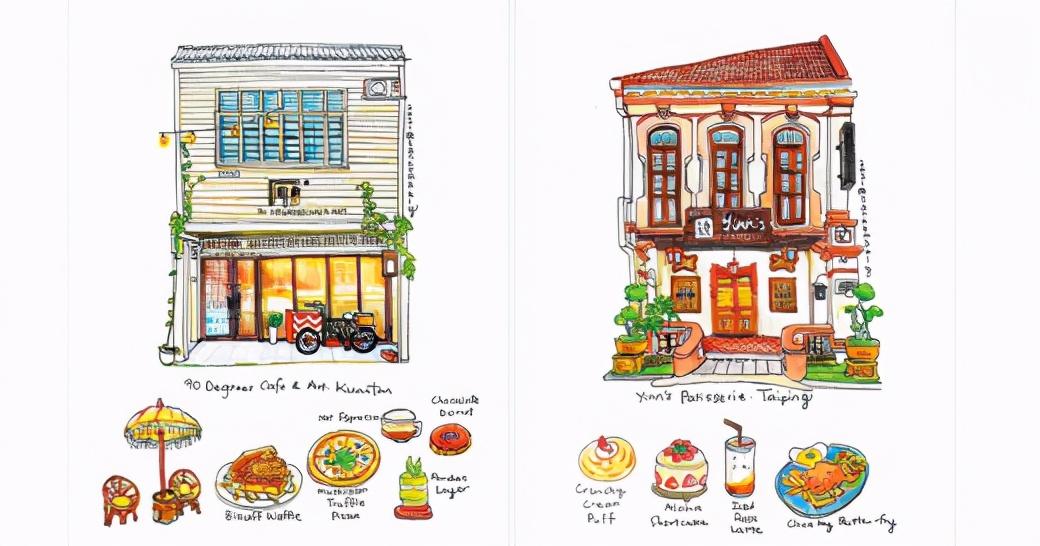 """跟着画作打卡咖啡店""""马来西亚50家店铺""""计划"""