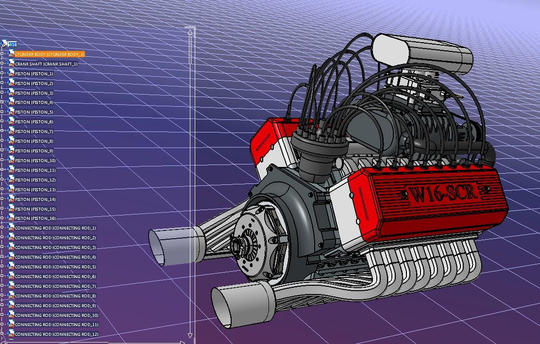 w16 muscle发动机16缸引擎模型3D图纸 STP格式