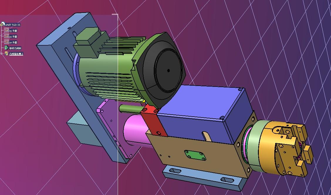 TGD 35组合机床通用部件镗车头3D图纸 IGS格式