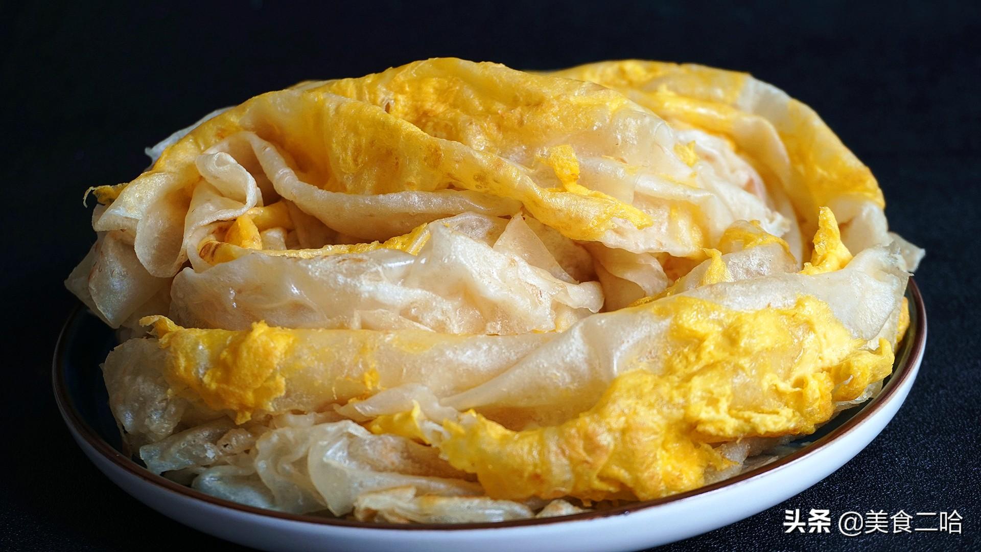 绸带鸡蛋饼:下锅10秒就能熟,滑软的就像绸缎一样,适合做早餐 美食做法 第11张