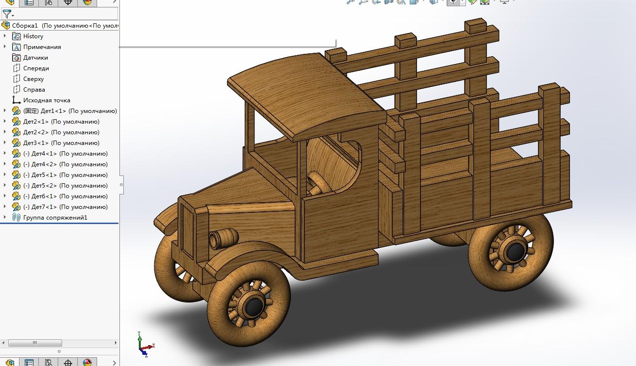 木制卡车玩具车模型3D图纸 Solidworks设计 附STEP
