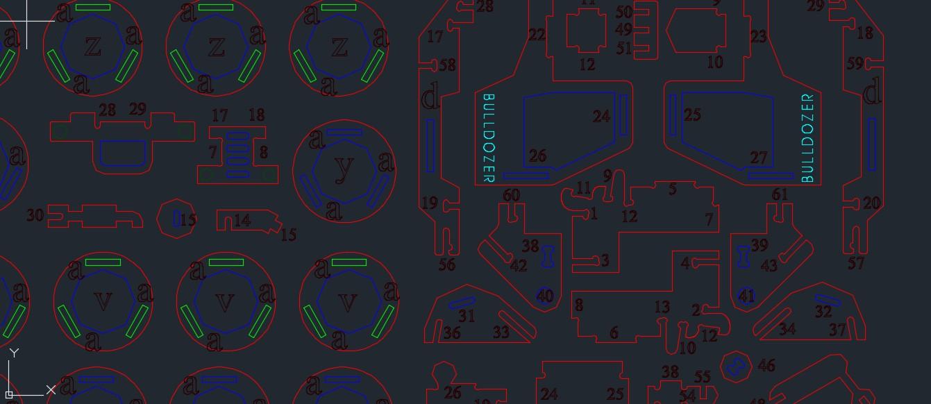 Buldozer推土机拼装模型激光切割图纸 dxf格式