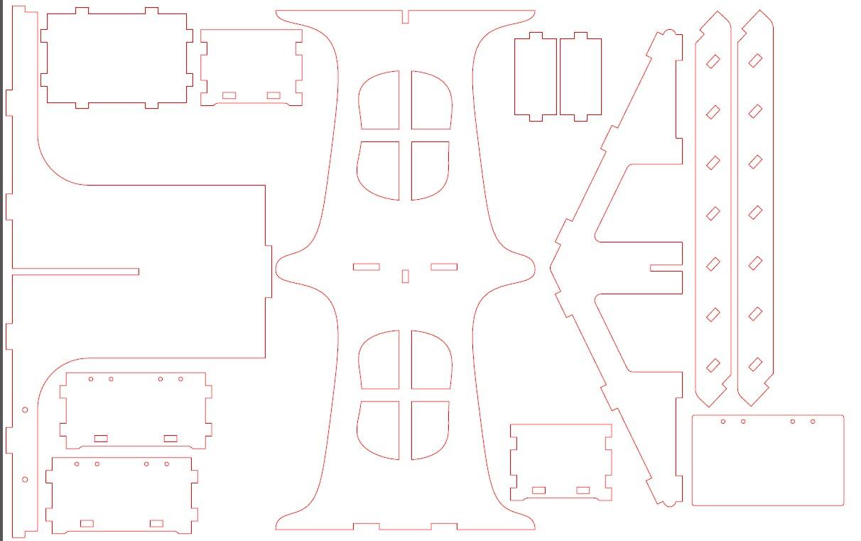 5mm厚五层小楼拼装模型激光切割图纸 dwg cdr格式