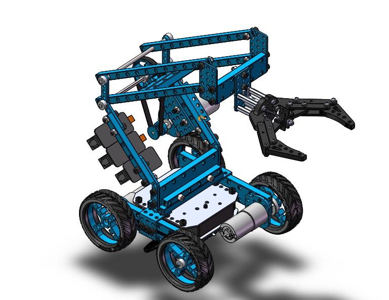 Small mechanical arm智能机械手四轮小车3D图纸 STEP格式