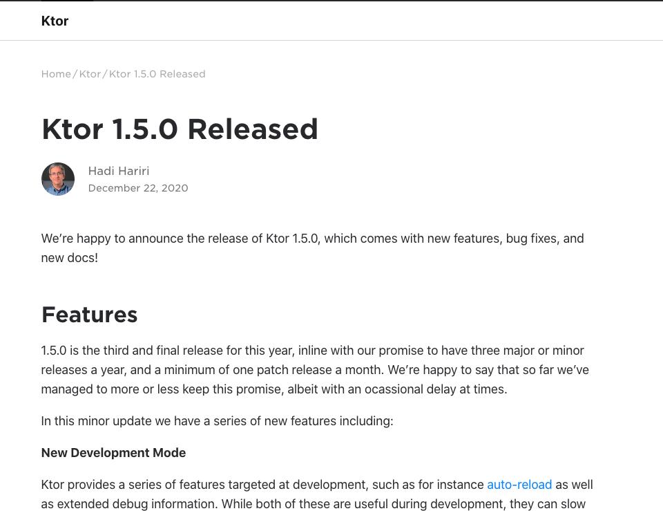 kotlin web框架 Ktor 1.5.0发布