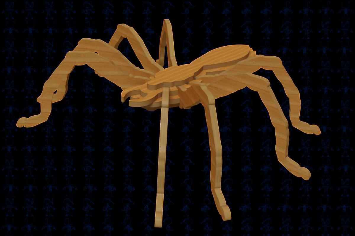 scrollsaw spider蜘蛛玩具拼装模型3D图纸 多种格式