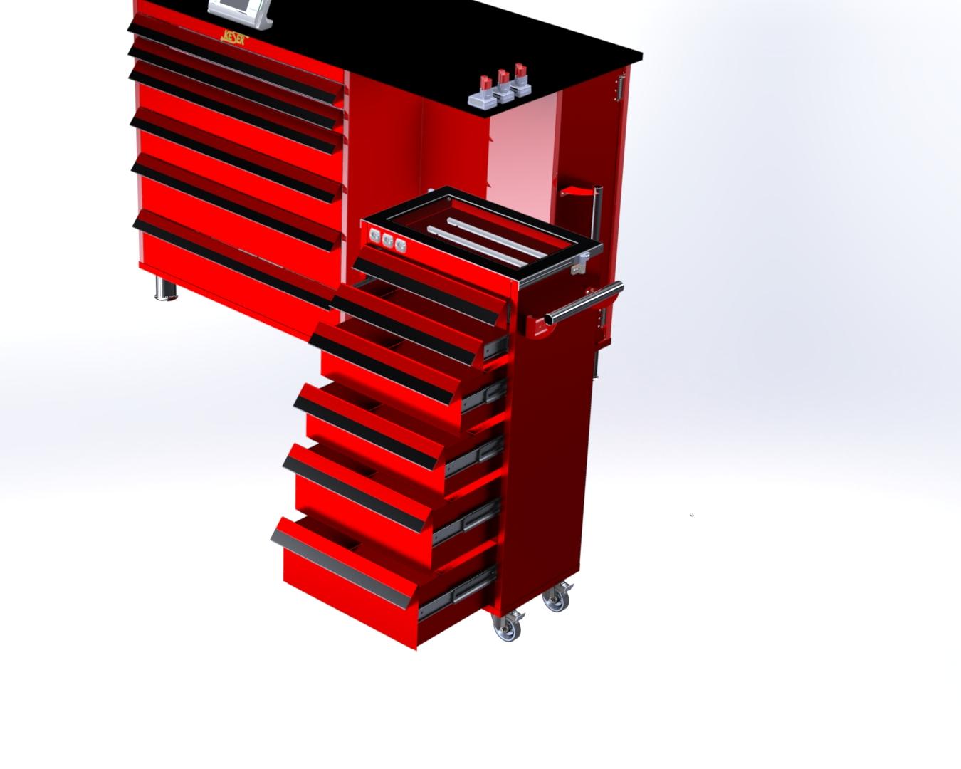 机械工程师的工作台工具柜模型3D图纸 Solidworks设计