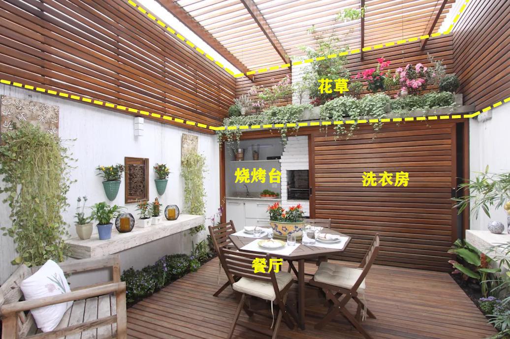 我家的天井不做开放式,用玻璃封顶,再铺一层防腐木,再也不闷热
