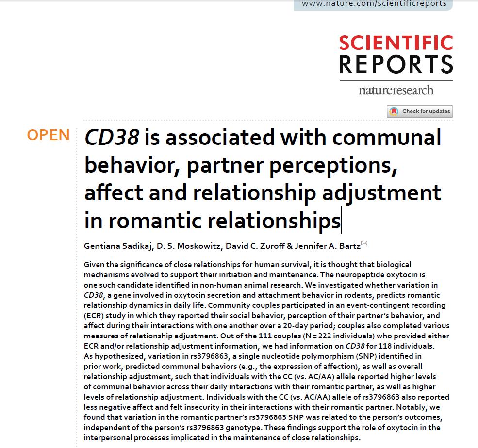 七夕快到了还不懂?科学家揭示CD38基因变异对浪漫行为的影响