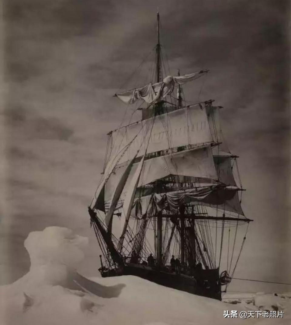 难以想象的1920年南极科考队乘大帆船考察老照片
