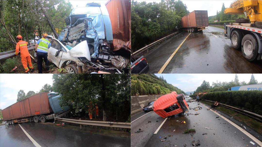 大广高速发生三车相撞事故 江西吉安消防破拆救人