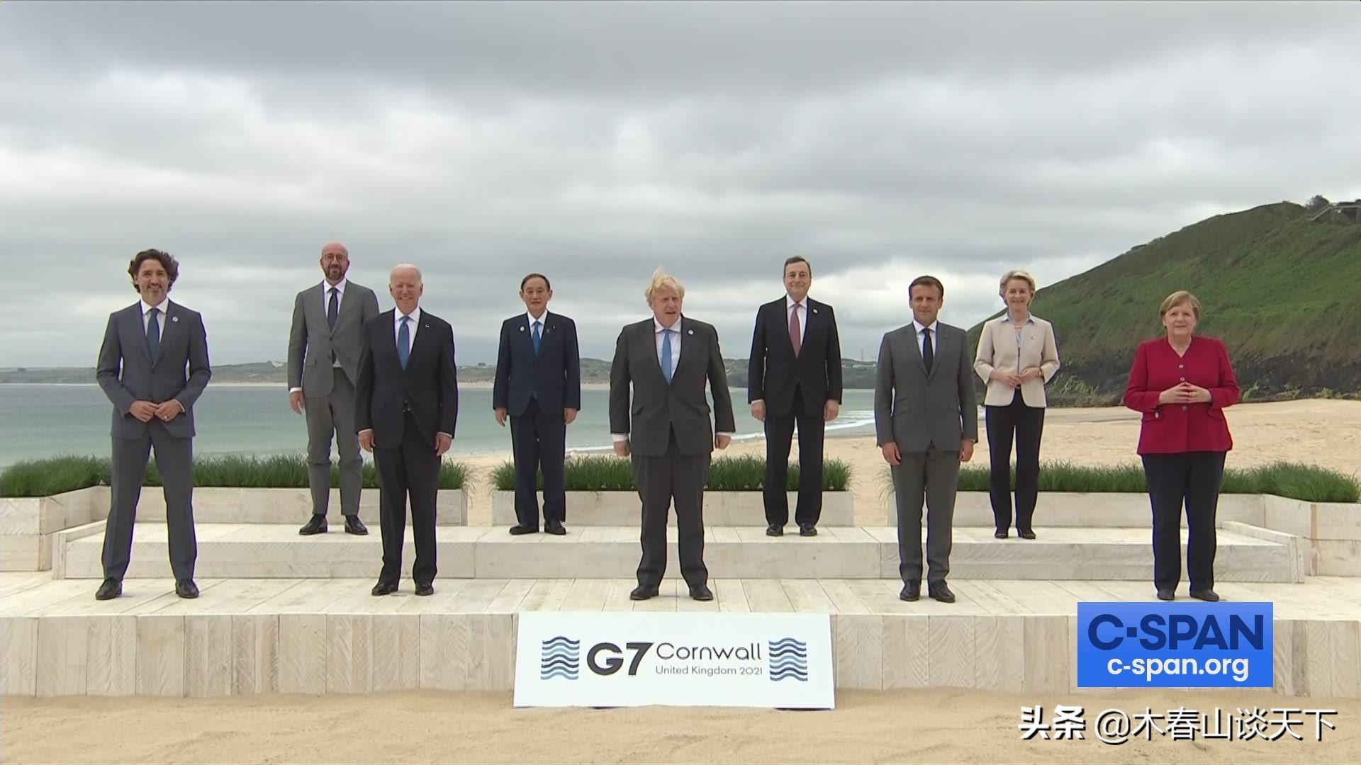 七国峰会大合影 为何站了9个人?西方人玩得真挺欢乐