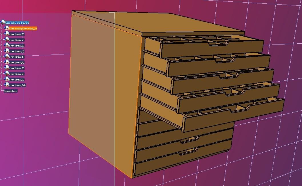 art drawer简易多层抽屉柜3D数模图纸 STP格式