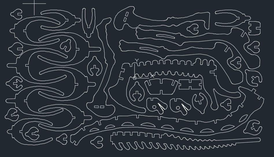 腕龙恐龙骨骼拼装立体模型图纸 dxf格式