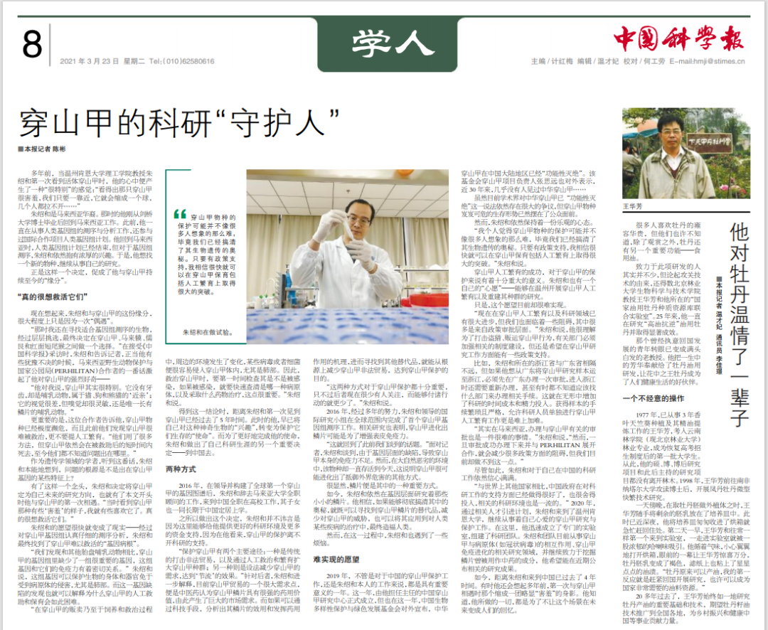 """中国科学报:穿山甲的科研""""守护人"""""""