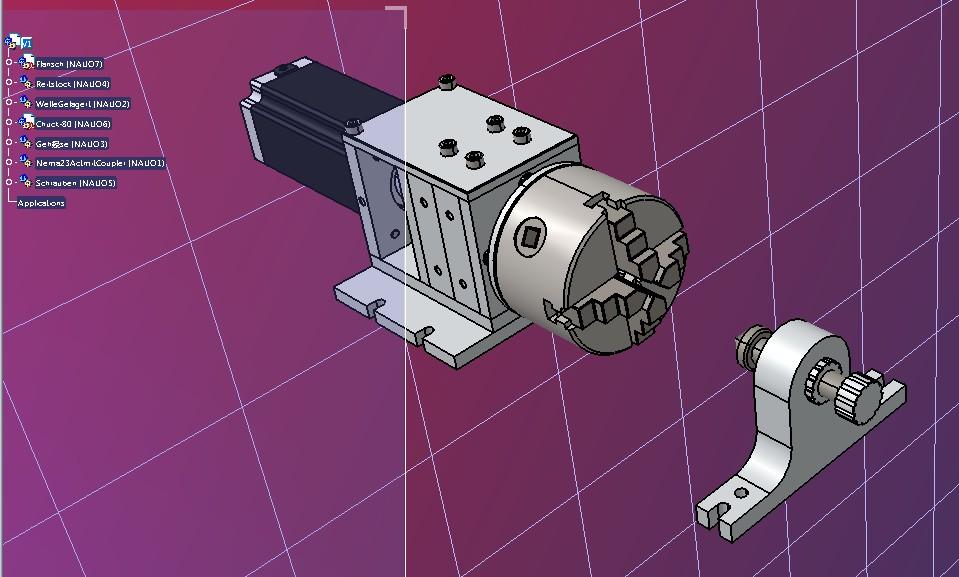 CNC数控雕刻机第4轴结构3D图纸 STEP格式