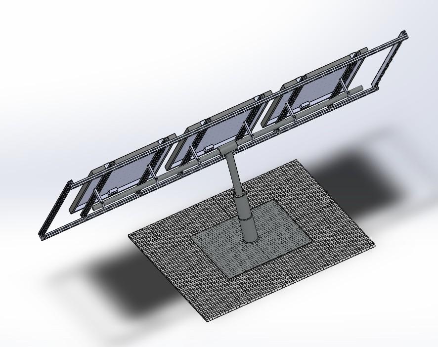 光伏太阳能板支架设计模型3D图纸 Solidworks设计
