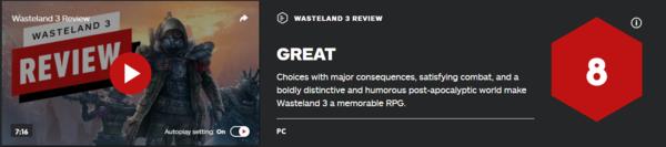 《废土3》IGN 8分:没有太多创新,但依旧值得赞扬