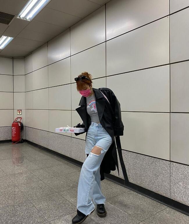 韩国ins街头时尚搭配博主 gemjem 轻松慵懒的韩式辣妹感觉