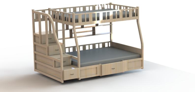 bunk bed双层上下床模型3D图纸 Solidworks设计
